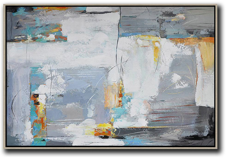 Large Living Room Wall Decor,Oversized Horizontal Contemporary Art,Hand-Painted Canvas Art White,Grey,Yellow